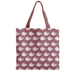 Cute Whale Illustration Pattern Zipper Grocery Tote Bags by creativemom