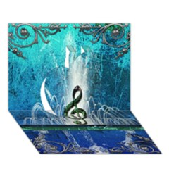 Clef With Water Splash And Floral Elements Apple 3d Greeting Card (7x5)  by FantasyWorld7