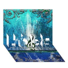 Clef With Water Splash And Floral Elements Hope 3d Greeting Card (7x5)  by FantasyWorld7
