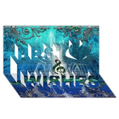Clef With Water Splash And Floral Elements Best Wish 3d Greeting Card (8x4)  by FantasyWorld7