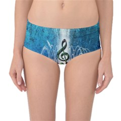 Clef With Water Splash And Floral Elements Mid Waist Bikini Bottoms by FantasyWorld7