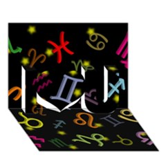 All Floating Zodiac Signs I Love You 3d Greeting Card (7x5)
