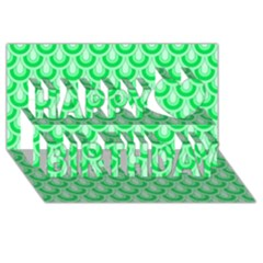 Awesome Retro Pattern Green Happy Birthday 3d Greeting Card (8x4)  by ImpressiveMoments