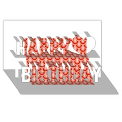 Awesome Retro Pattern Red Happy Birthday 3d Greeting Card (8x4)  by ImpressiveMoments