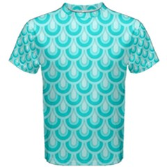 Awesome Retro Pattern Turquoise Men s Cotton Tees by ImpressiveMoments