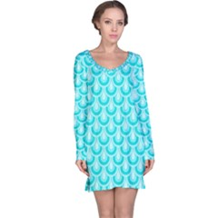 Awesome Retro Pattern Turquoise Long Sleeve Nightdresses by ImpressiveMoments