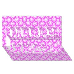 Retro Mirror Pattern Pink Merry Xmas 3d Greeting Card (8x4)  by ImpressiveMoments
