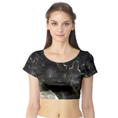 Space Like No 6 Short Sleeve Crop Top by timelessartoncanvas