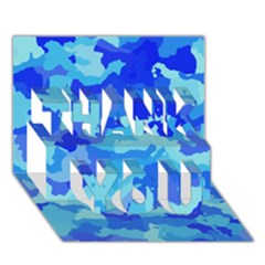 Camouflage Blue Thank You 3d Greeting Card (7x5)