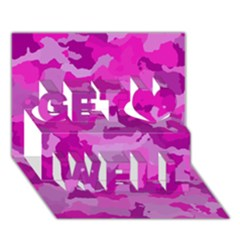 Camouflage Hot Pink Get Well 3d Greeting Card (7x5)