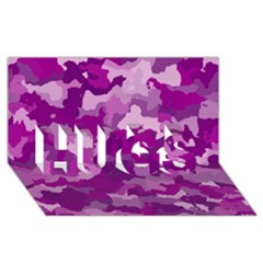 Camouflage Purple HUGS 3D Greeting Card (8x4)  by MoreColorsinLife