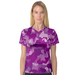 Camouflage Purple Women s V-Neck Sport Mesh Tee by MoreColorsinLife