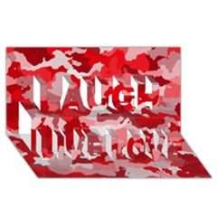 Camouflage Red Laugh Live Love 3d Greeting Card (8x4)  by MoreColorsinLife
