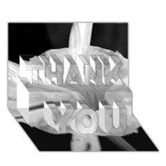 Exotic Black And White Flower 2 Thank You 3d Greeting Card (7x5)  by timelessartoncanvas