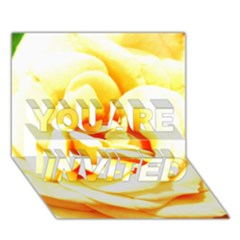 Orange Yellow Rose You Are Invited 3d Greeting Card (7x5)  by timelessartoncanvas