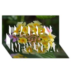 Colorful Flowers Happy New Year 3d Greeting Card (8x4)  by timelessartoncanvas