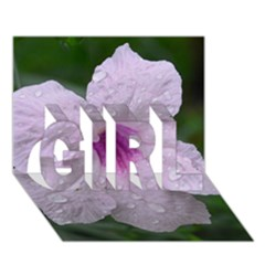 Pink Purple Flowers Girl 3d Greeting Card (7x5)  by timelessartoncanvas