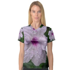 Pink Purple Flowers Women s V Neck Sport Mesh Tee by timelessartoncanvas