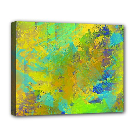 Abstract In Blue, Green, Copper, And Gold Deluxe Canvas 20  X 16   by theunrulyartist
