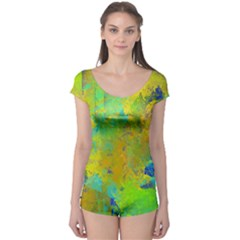 Abstract In Blue, Green, Copper, And Gold Short Sleeve Leotard