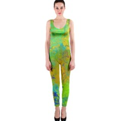 Abstract In Blue, Green, Copper, And Gold Onepiece Catsuits by theunrulyartist