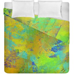 Abstract In Blue, Green, Copper, And Gold Duvet Cover (king Size) by theunrulyartist