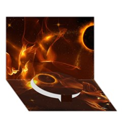 Fire And Flames In The Universe Circle Bottom 3d Greeting Card (7x5)  by FantasyWorld7