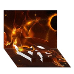 Fire And Flames In The Universe Love Bottom 3d Greeting Card (7x5)  by FantasyWorld7