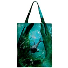 Wonderful Dolphin Zipper Classic Tote Bags