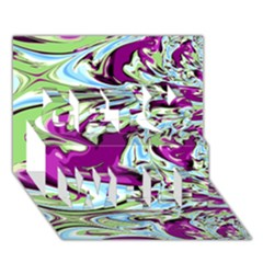 Purple, Green, And Blue Abstract Get Well 3d Greeting Card (7x5)  by theunrulyartist