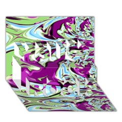 Purple, Green, And Blue Abstract You Rock 3d Greeting Card (7x5)