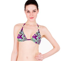 Purple, Green, and Blue Abstract Bikini Tops by theunrulyartist