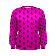 Hot Pink Black Polka Dot  Women s Sweatshirts