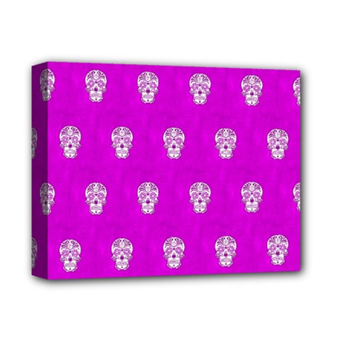 Skull Pattern Hot Pink Deluxe Canvas 14  X 11  by MoreColorsinLife