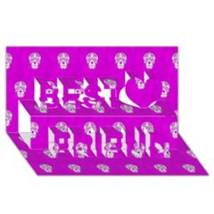 Skull Pattern Hot Pink Best Friends 3d Greeting Card (8x4)  by MoreColorsinLife