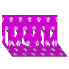 Skull Pattern Hot Pink Mom 3d Greeting Card (8x4)  by MoreColorsinLife