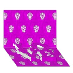 Skull Pattern Hot Pink Love Bottom 3d Greeting Card (7x5)  by MoreColorsinLife