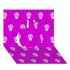 Skull Pattern Hot Pink Apple 3d Greeting Card (7x5)  by MoreColorsinLife