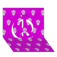 Skull Pattern Hot Pink Peace Sign 3d Greeting Card (7x5)  by MoreColorsinLife