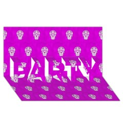 Skull Pattern Hot Pink Party 3d Greeting Card (8x4)  by MoreColorsinLife