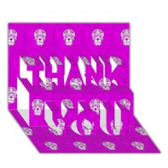 Skull Pattern Hot Pink Thank You 3d Greeting Card (7x5)  by MoreColorsinLife