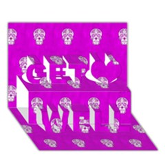 Skull Pattern Hot Pink Get Well 3d Greeting Card (7x5)  by MoreColorsinLife