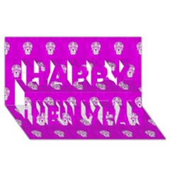 Skull Pattern Hot Pink Happy New Year 3d Greeting Card (8x4)  by MoreColorsinLife