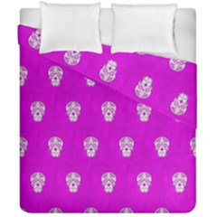 Skull Pattern Hot Pink Duvet Cover (double Size) by MoreColorsinLife