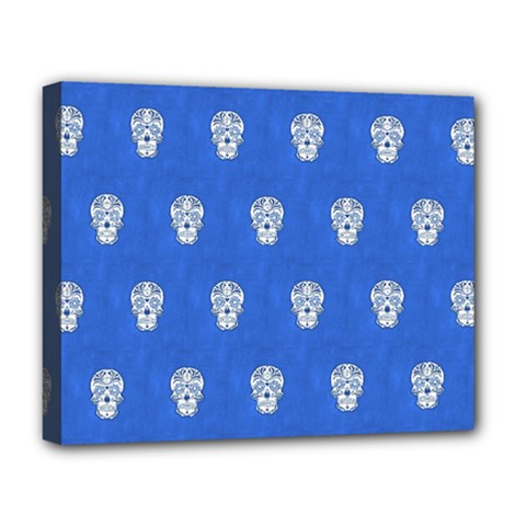 Skull Pattern Inky Blue Deluxe Canvas 20  X 16   by MoreColorsinLife