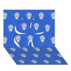 Skull Pattern Inky Blue Clover 3d Greeting Card (7x5)  by MoreColorsinLife