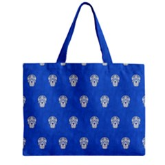 Skull Pattern Inky Blue Zipper Tiny Tote Bags by MoreColorsinLife