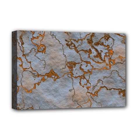 Marbled Lava Orange Deluxe Canvas 18  x 12   by MoreColorsinLife