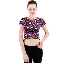 Pink Cheetah Abstract  Crew Neck Crop Top by OCDesignss