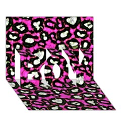 Pink Black Cheetah Abstract  Boy 3d Greeting Card (7x5) by OCDesignss